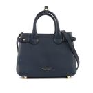 【BURBERRY】THE BANNER HOUSE 格紋皮革小型包(墨藍色) 4023703 46600