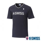 K-SWISS KS V-Neck Tee印花短袖T恤-男-黑