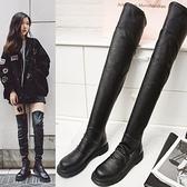 真皮過膝靴-時尚簡約百搭高彈力平底女長靴73iv49【時尚巴黎】