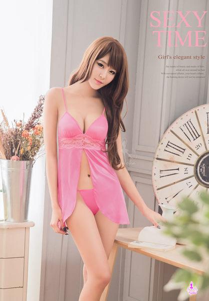 粉紅誘人柔緞二件式前後開襟睡衣 (OS小舖)