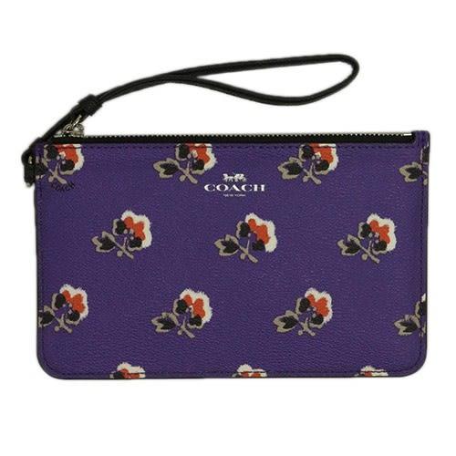 米菲客 COACH 季節限定商品 經典馬車LOGO設計 時尚花朵款 防水防刮皮革 手拿包 手機包(紫)56027