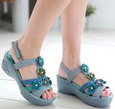 環保PU底*流星花樣/舒適內裡--THE ONE 氣墊鞋/涼鞋(全牛皮)-A09046 水藍