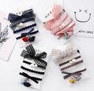韓版  現貨。蕾絲蝴蝶結髮圈4件組-黑色/灰色/粉色/藏藍【BeautyBox】A1801S0017