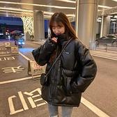 棉服 2021年冬裝新款pu皮衣棉襖子女加厚韓版棉衣學生寬鬆面包棉服外套【快速出貨八折搶購】