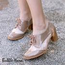 牛津鞋-法式蕾絲牛津雕花粗跟鞋。Bubb...