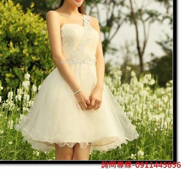 (45 Design) 訂做款式7天到貨新款斜肩伴娘禮服短款蕾絲花邊晚禮服小禮服裙韓版修身小禮服