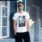 夏季男士 歐美復古印花短袖T恤 青年潮流圓領半截袖上衣t 降價兩天