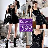 克妹Ke-Mei【ZT51816】韓國ulzzang帥氣軍風拉鍊釘釦吊帶背心洋裝