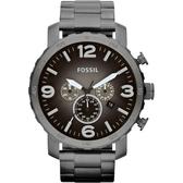 FOSSIL 大世紀戰神三眼計時腕錶/手錶-灰鐵黑/50mm JR1437