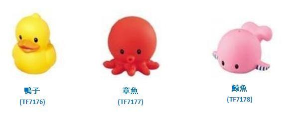 **小饅頭**樂雅 軟膠洗澡玩具-鴨子/章魚/鯨魚 (TF7176/7177/7178)*特價78元
