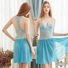 969情趣~大尺碼Annabery湖水藍柔紗蕾絲美背二件式性感睡衣
