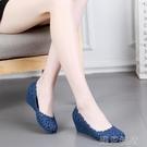 楔型鞋新款楔型塑料涼鞋鏤空花朵中跟果凍鞋...