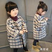 中大尺碼毛呢外套 冬裝新款童裝毛呢大衣女童呢子外套兒童寬鬆中大童 AW14469【旅行者】