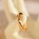 歐雅琪 韓國飾品鈦鋼玫瑰金單鉆光面圈情侶戒指 指環禮物女J043