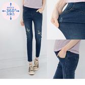 《MA0231》魔術360~好彈破損造型包腹孕婦牛仔長褲--適 XL~3L OrangeBear