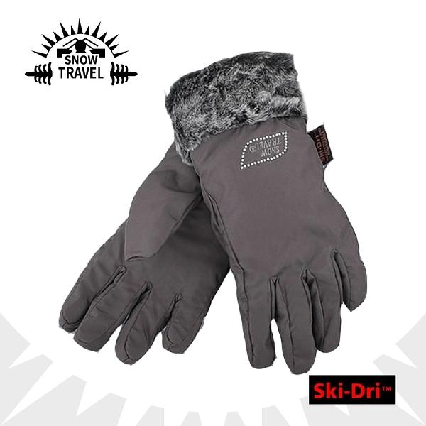 【SNOW TRAVEL SKI-DRI防水透氣水鑽手套《灰》】AR-56/防水透氣/保暖手套/出國旅行/賞雪