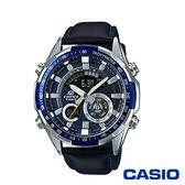 CASIO卡西歐 立體金屬時刻雙顯皮革男腕錶-藍x47mm ERA-600L-2A
