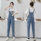 韓版減齡網紅牛仔背帶褲女2020年夏季薄款寬鬆小個子學生顯瘦長褲 露露日記