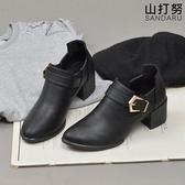 踝靴 繞帶釦飾鬆緊低跟靴- 山打努SANDARU【09E808#54】