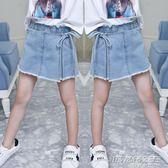 女童牛仔短褲新款韓版時尚夏季兒童女假兩件裙褲      時尚教主