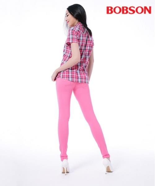 BOBSON 女款格子襯衫    (25136-13)