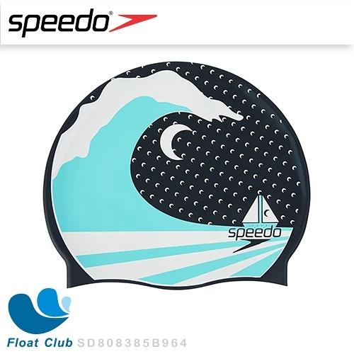 【Speedo】成人款矽膠泳帽 - Slogan Print 海浪 (SD808385B964)