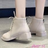 馬丁靴女英倫風秋冬新款瘦瘦靴粗跟網紅潮顯腳小短靴春季新品