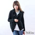 Victoria 雙排扣翻領厚針織外套-女-黑