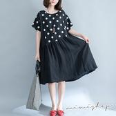孕婦裝 MIMI別走【P521033】波妞的思維 寬版透氣棉麻造型洋裝 孕婦裙 加大版