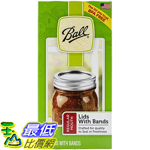 [美國直購] Ball 梅森 30000 一般口徑 瓶蓋 12入 Regular Mouth Lids and Bands - 12 pack