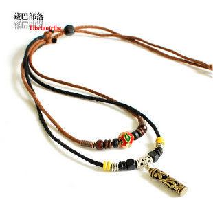 雙層油麻繩藏銀吉祥瓶藏飾項鏈