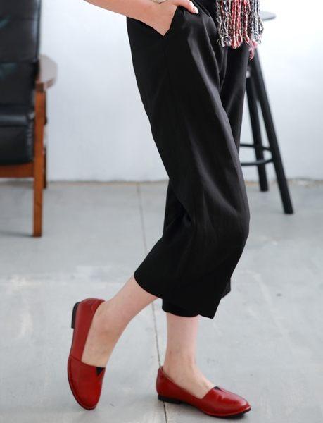 MIT*(橡膠底)手工車縫/跳色束帶/輕休履-C2*16814L 紅色-PAPALIES 氣墊鞋 (全真皮)