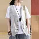 夏季棉麻背心女寬鬆百搭無袖坎肩中式時尚亞麻馬甲開衫短外套 維多原創