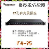 【AudioKing 台灣憾聲】麥克風分配器 12孔麥克風插座《TH-75》全新原廠保固