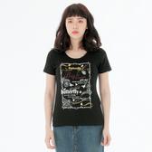BIG TRAIN 燙鑽文字蝴蝶印花超彈短袖T恤上衣-女-淺卡其/黑-B85286