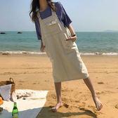 【狐狸跑跑】春季韓版寬版休閑背帶裙大口袋牛仔連身裙女Q7252