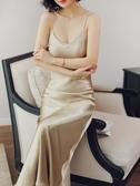 秋季時尚內搭絲綢緞面吊帶裙女長款禮服裙秋冬洋裝性感睡裙長裙 晴天時尚