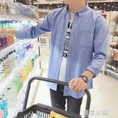 夏季亞麻長袖襯衫男士韓版修身青少年休閒白色襯衣潮男裝外套衫寸 藍嵐