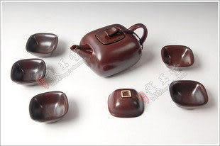 陶瓷整套茶具/金屬釉 長方壺
