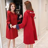【雙十二】預熱孕婦秋裝套裝時尚款2018新款韓版寬鬆上衣加厚冬裝衛衣加絨連身裙     巴黎街頭