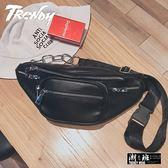 『潮段班』【HJ0A0014】歐美風格潮牌街頭鍊條皮質單肩協包/胸包/腰包/小背包