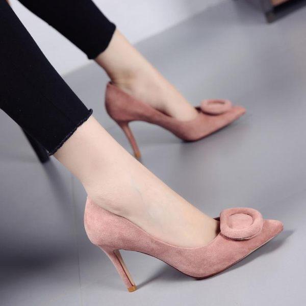方扣淺口尖頭鞋 女絨面細跟高跟鞋【多多鞋包店】z3316