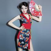 涼感演出服新款復古cosplay服裝旗袍古裝動漫cos女歌手領舞服【販衣小築】