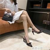 涼鞋女夏季百搭新款波點網紗細跟尖頭淺口高跟鞋仙女風單鞋女 元旦節全館免運