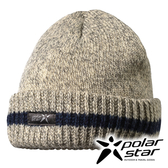 PolarStar 反摺橫條羊毛保暖帽 P13605『淺灰』