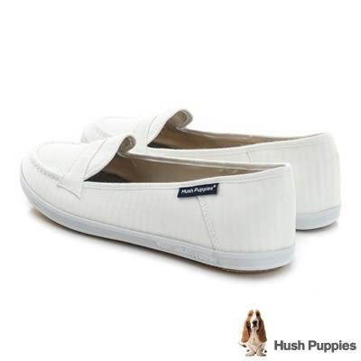 Hush Puppies 極簡淺條咖啡紗摩卡娃娃鞋-白色