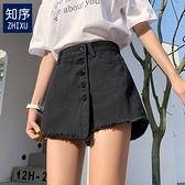 褲裙 牛仔短褲女薄款2021年新款高腰寬鬆闊腿熱褲a字黑色褲裙假兩件夏 美物