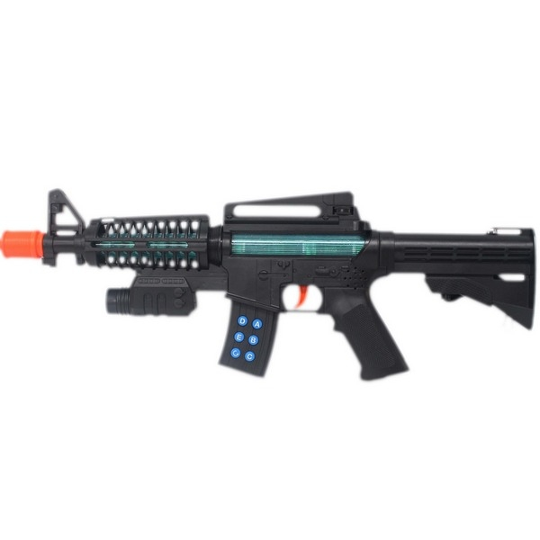M-16聲光震動槍 八音槍(附電池)盒裝/一個入{促350} 閃光雷射震動音效聲光槍 8音槍~生698-02