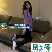 兩件式褲裝 休閒套裝女夏韓版小個子寬鬆短袖開叉長褲兩件套【風之海】