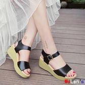 楔形涼鞋 涼鞋坡跟 松糕 厚底 防水臺鞋 一字扣